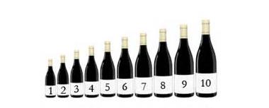 不同容量的法国葡萄酒酒瓶