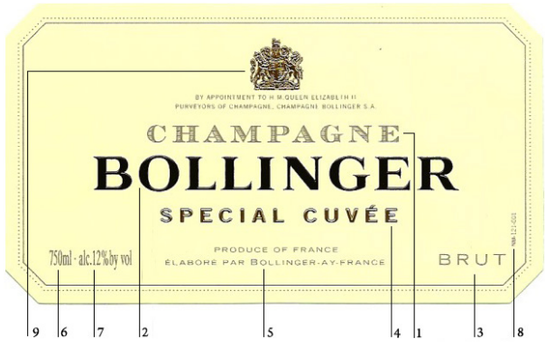 香檳酒標解讀