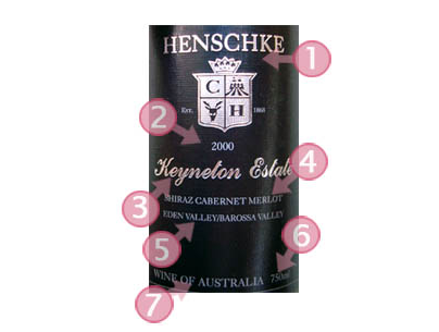 澳洲葡萄酒的酒标