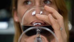 红葡萄酒的口中品尝