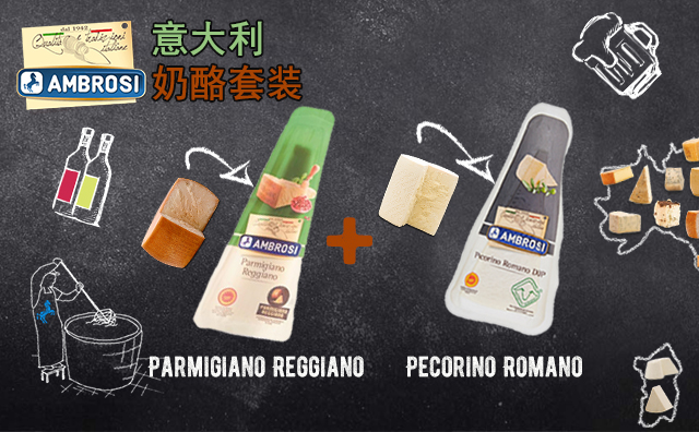 【精选奶酪】意大利Ambrosi奶酪 Parmigiano Reggiano+ Pecorino Romano 两件套