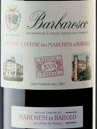 巴罗洛侯爵巴巴莱斯科珍藏干红Marchesi di Barolo Barbaresco Riserva