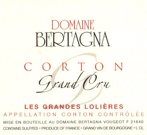 贝塔娜哥尔顿顶级格兰德干红Domaine Bertagna Corton Les Grandes Lolieres Grand Cru