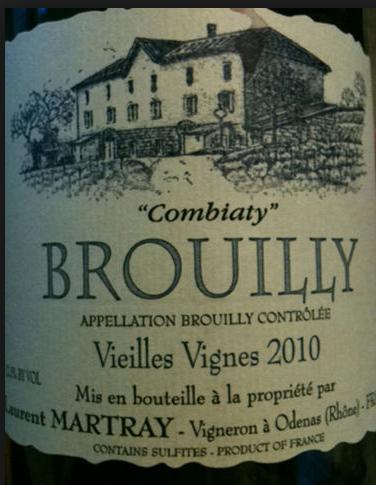 劳伦马特雷老藤孔比亚迪干红Laurent Martray Brouilly Combiaty Vieilles Vignes