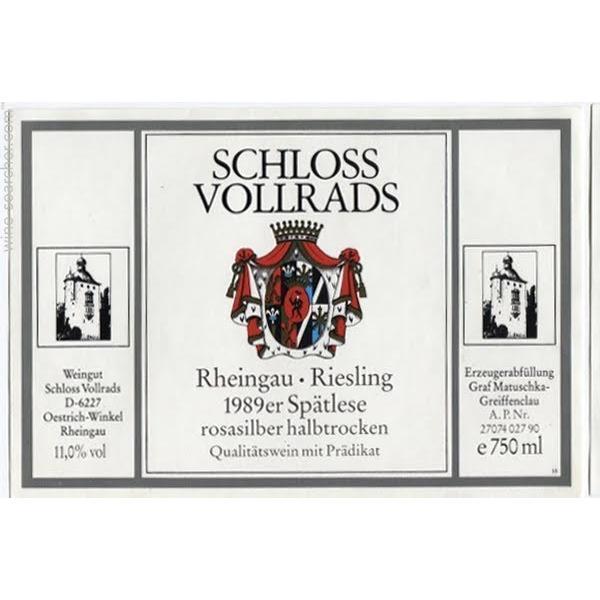 沃尔莱茨玫瑰银晚收雷司令半干白Schloss Vollrads Rosasilber Riesling Spatlese Halbtrocken
