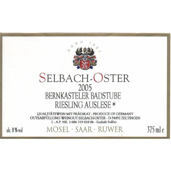 泽巴赫班卡斯特勒-巴斯图园雷司令精选半干白Selbach-Oster Bernkastler Badstube Riesling Auslese