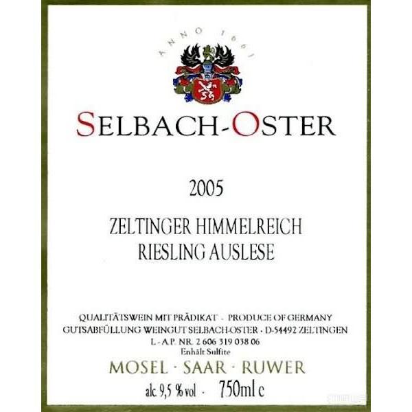 泽巴赫塞尔廷仙境园雷司令精选半干白Selbach-Oster Zeltinger Himmelreich Riesling Auslese