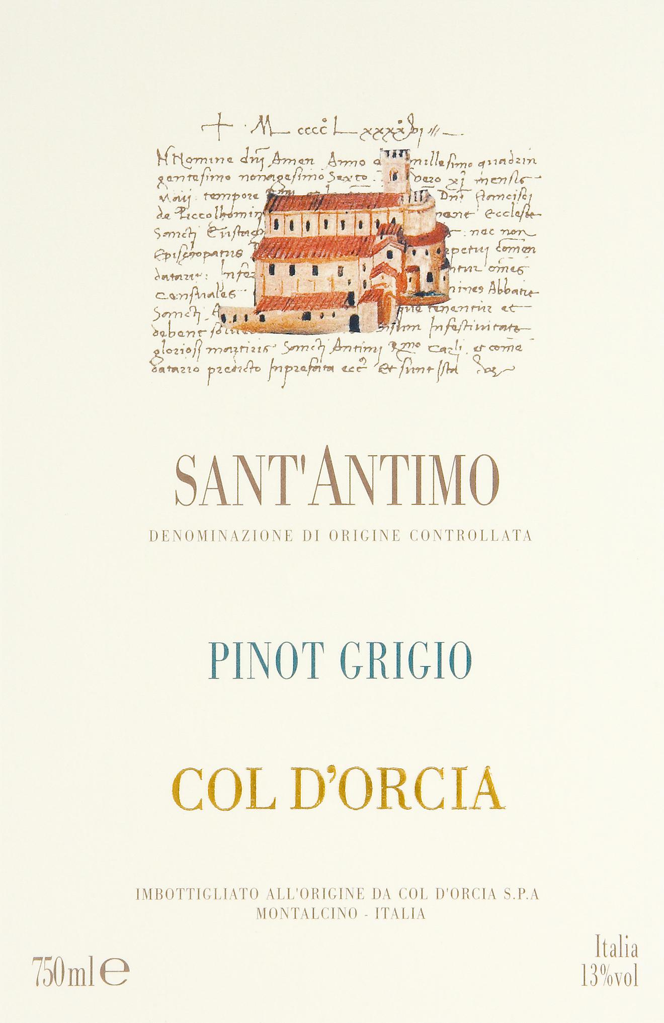 科尔多奇亚圣安蒂莫灰皮诺干白Col d'Orcia Pinot Grigio Sant'Antimo