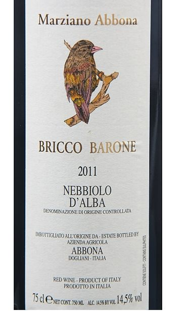阿博纳酒庄布瑞克内比奥罗干红Marziano Abbona Bricco Barone Nebbiolo d'Alba