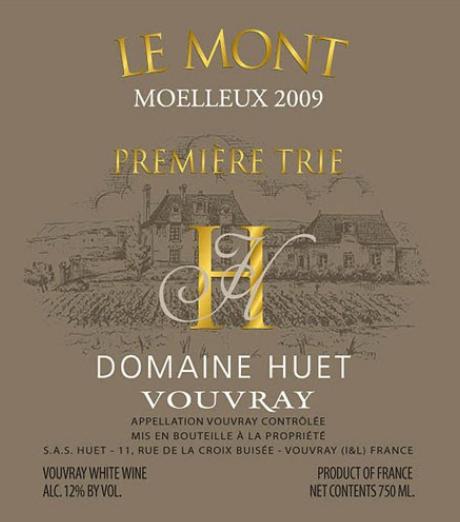 予厄山峰园一级甜白Domaine Huet Le Mont Moelleux Premiere Trie