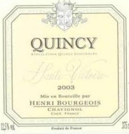 亨利博卢瓦昆西维克托瓦尔干白Henri Bourgeois Quincy Haute Victoire