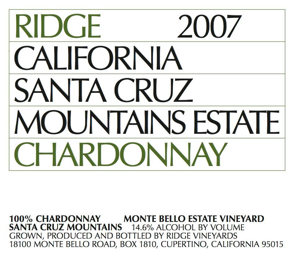 山脊庄园圣克鲁兹山霞多丽干白Ridge Vineyards Estate Chardonnay