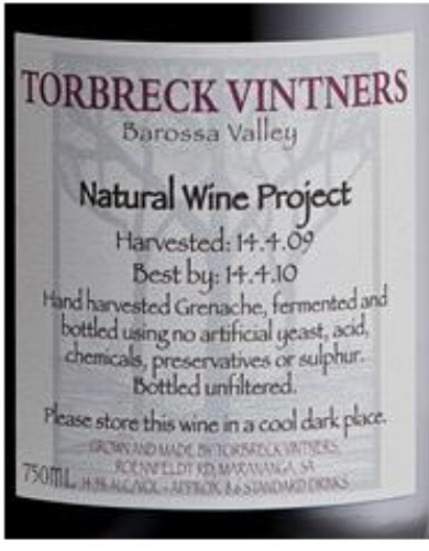 托布雷酿酒师天然干红Torbreck Vintners Natural Wine Project