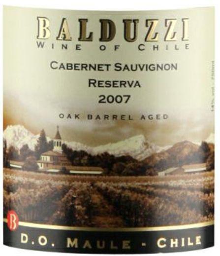 豪华碧桃丝赤霞珠特级干红Balduzzi Cabernet Sauvignon Reserva