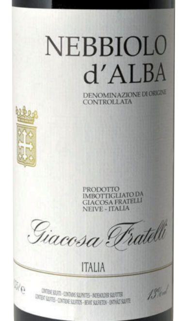 贾科萨阿尔巴内比奥罗干红Fratelli Giacosa The Nebbiolo d'Alba