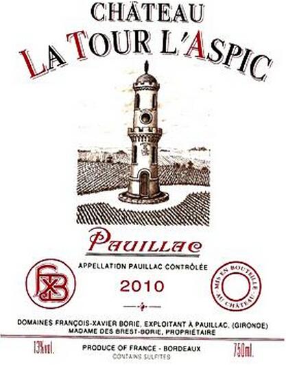 奥巴特利酒庄副牌干红Chateau La Tour L'Aspic