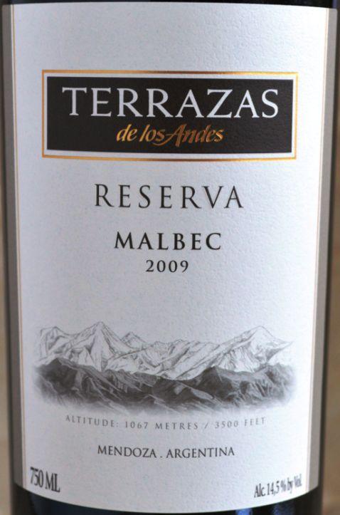 安第斯台阶珍藏马尔贝克干红Terrazas de los Andes Reserva Malbec