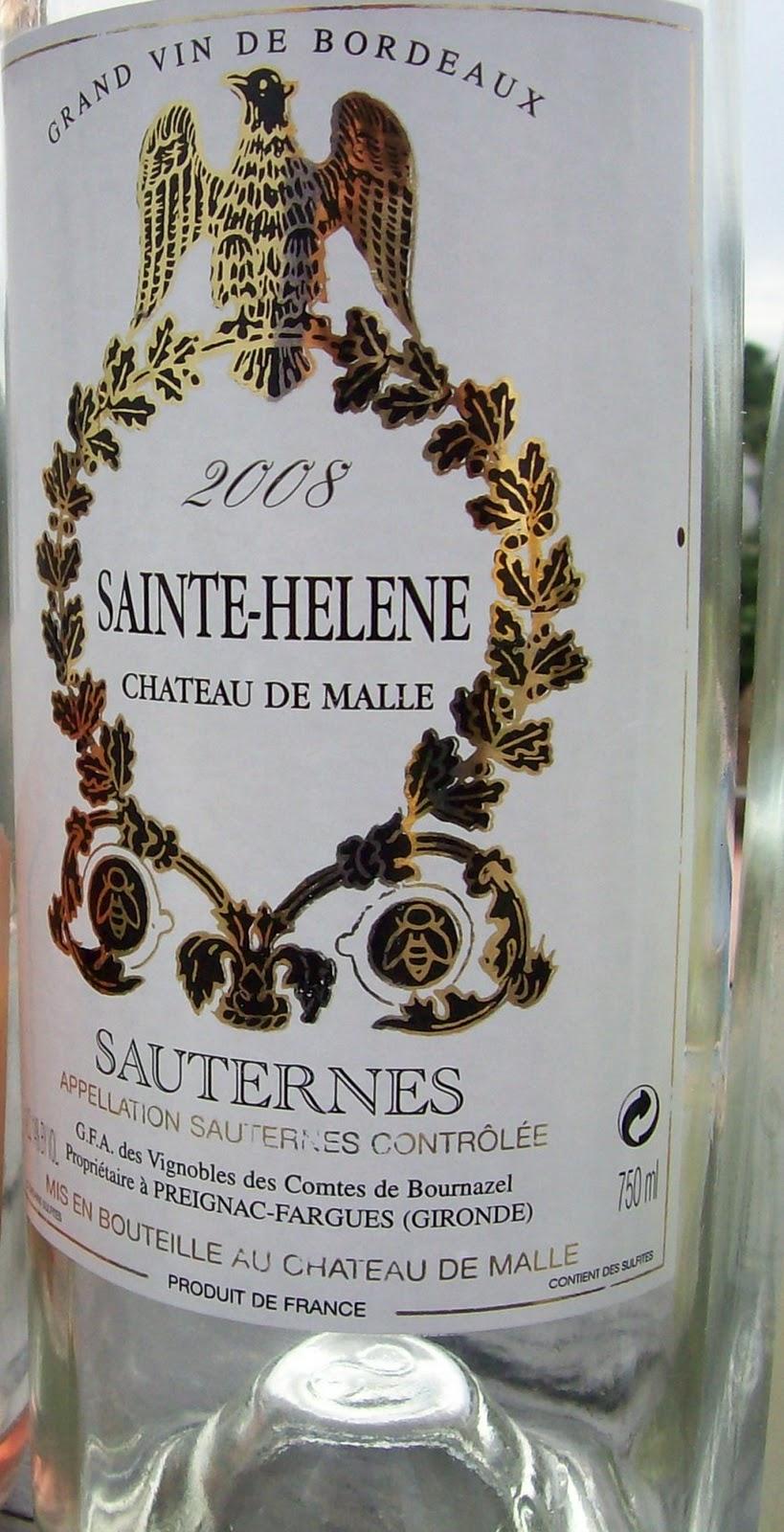 马乐酒庄副牌贵腐甜白Chateau de Sainte Helene