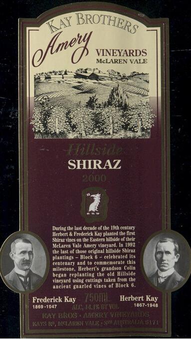 凯兄弟埃默里庄园山腰设拉子干红Kay Brothers Amery Vineyards Hillside Shiraz