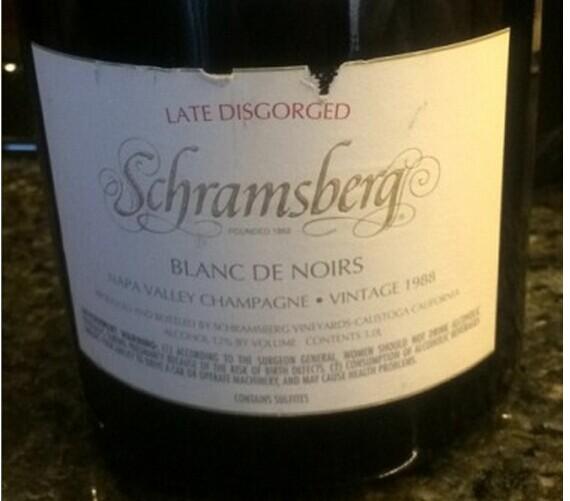 世酿伯格迟去渣黑皮诺白起泡酒Schramsberg Late Disgorged Blanc de Noirs