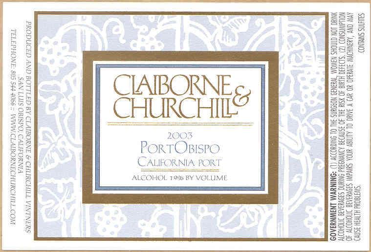 克莱本丘吉尔酒庄波奥比斯泼干红Claiborne & Churchill PortObispo