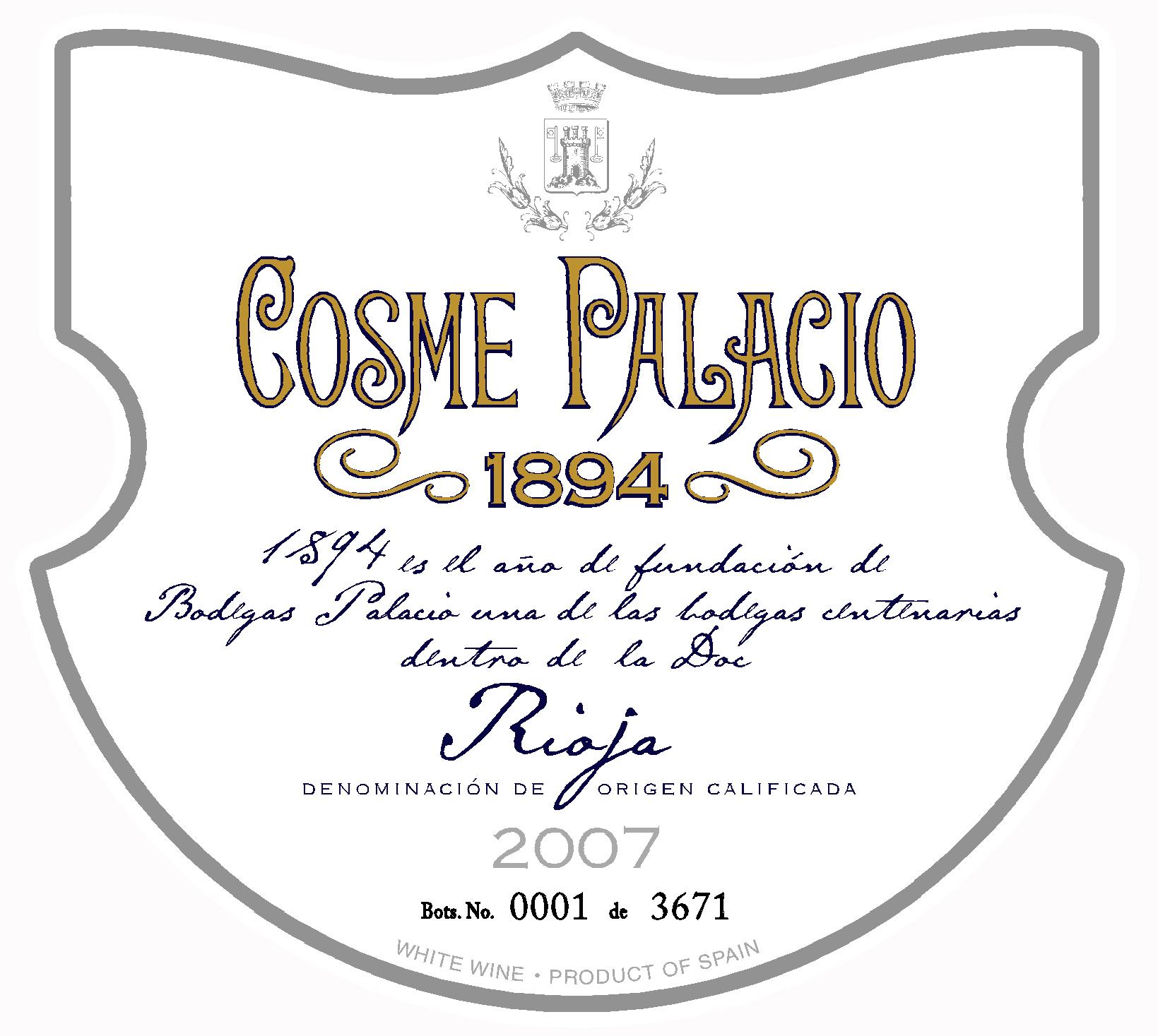 帕拉西奥科姆宫殿1984丹魄干红Hijos de Antonio Barcelo Bodegas Palacio 'Cosme Palacio' 1894 Tinto