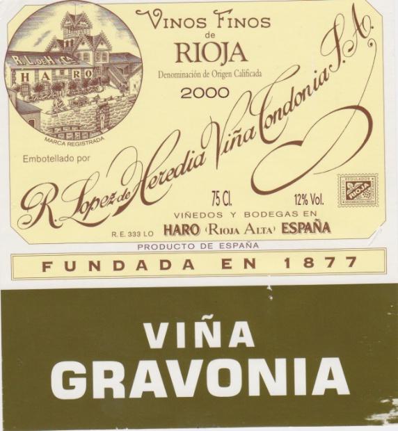 洛佩斯埃雷蒂亚酒庄高福园里奥哈陈酿干白R. Lopez de Heredia Vina Gravonia Blanco