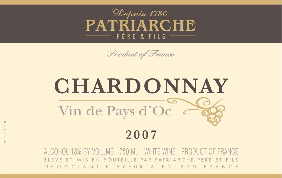 patriarche pere & fils chardonnay (vin de pays d'oc)