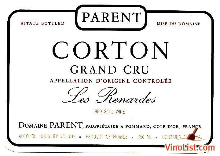 巴航科尔登特-赫纳德园干红Domaine Parent Les Renardes Corton Grand Cru