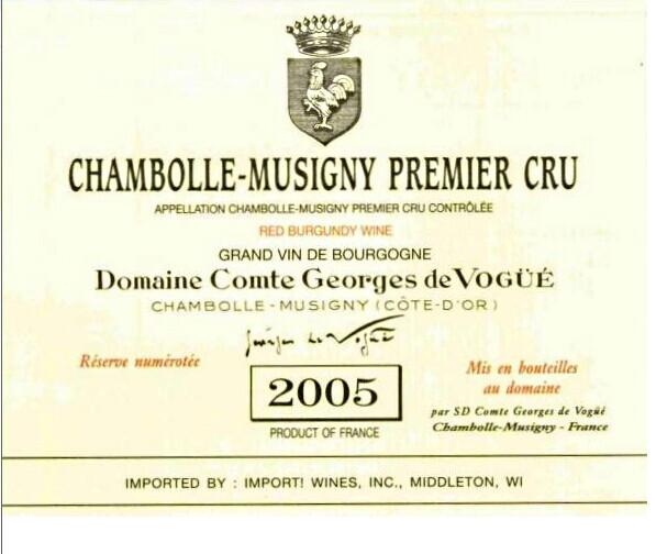 武戈公爵酒庄一级干红(香波-慕西尼村)Domaine Comte Georges de Vogue Premier Cru