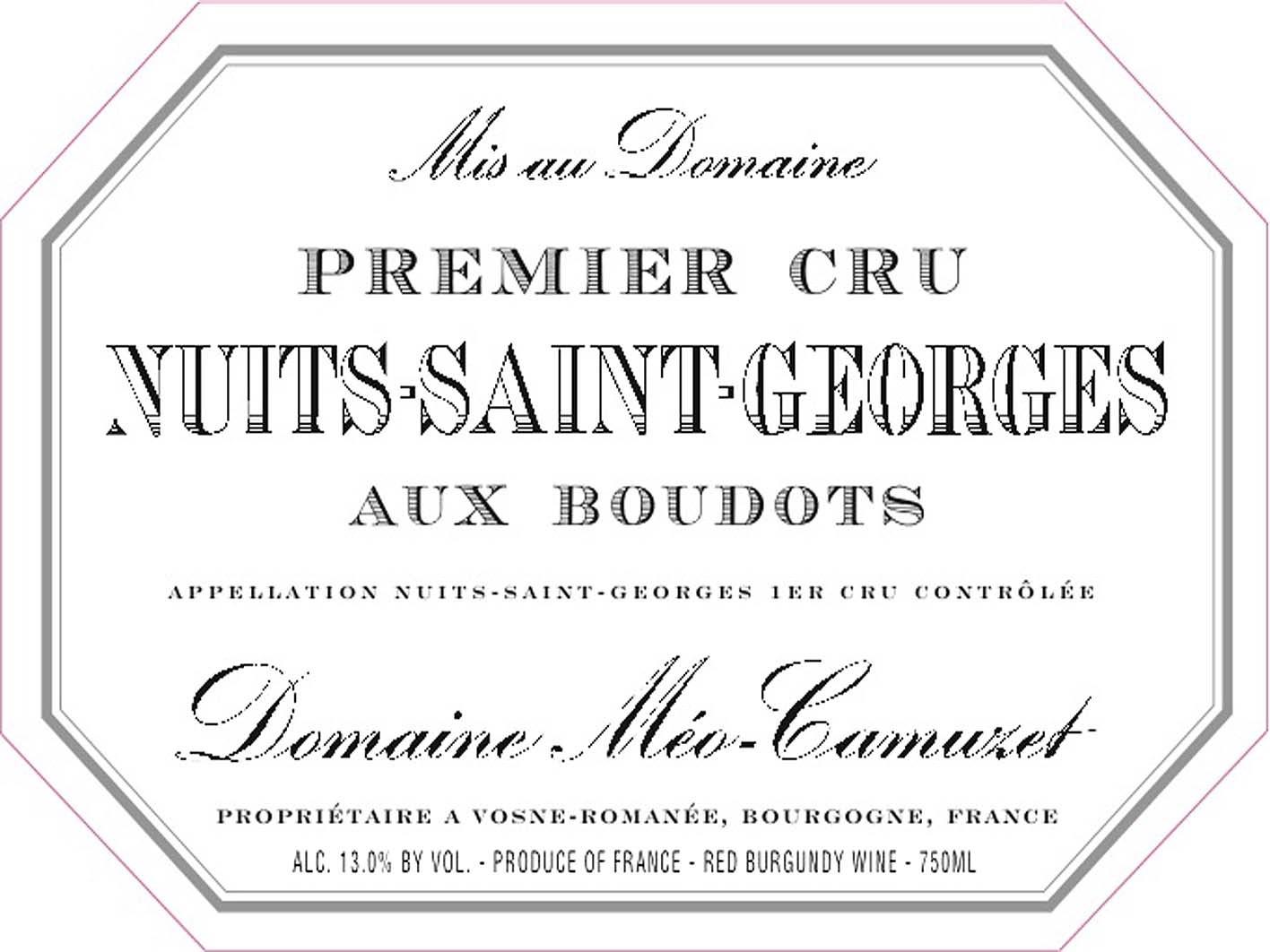 凯慕思奥克斯特斯一级园干红Domaine Meo-Camuzet Nuits-Saint-Georges Aux Boudots Premier Cru