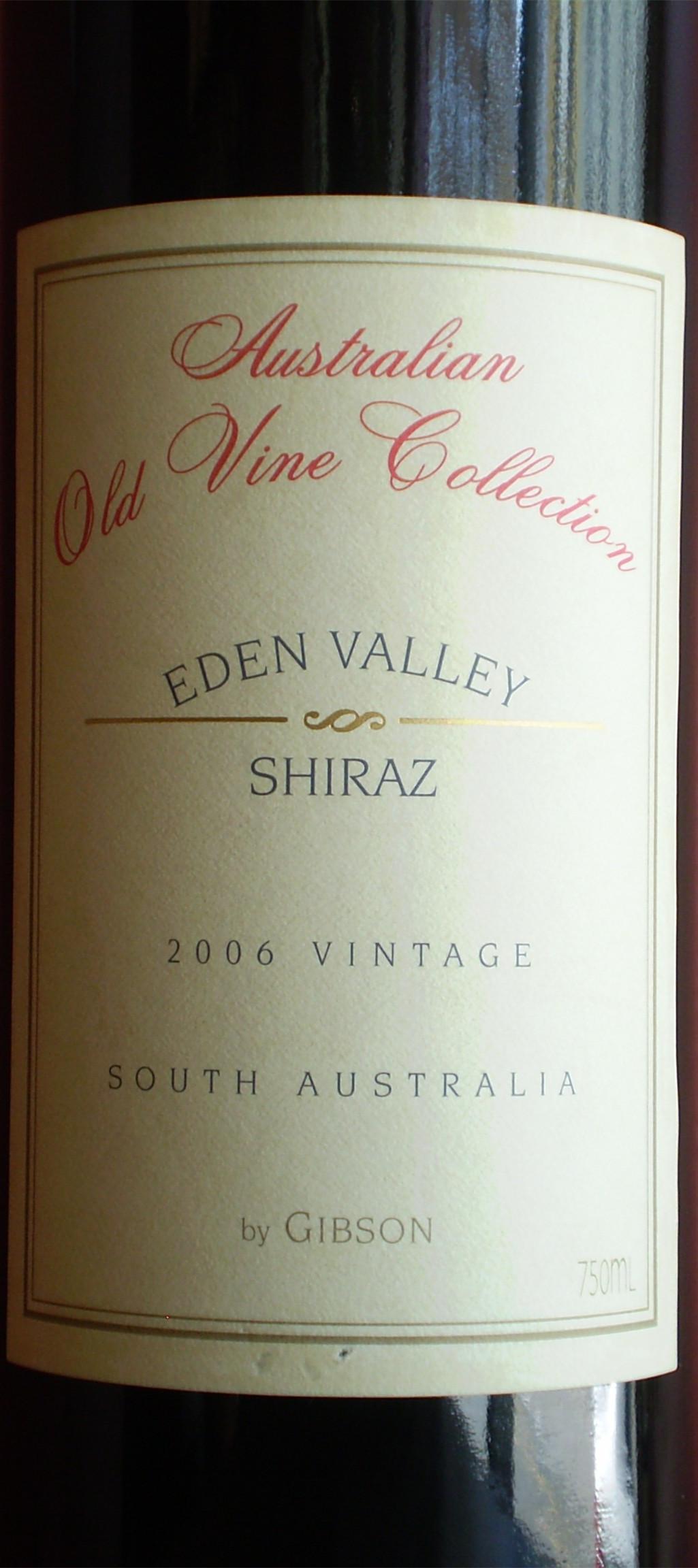 吉布森老藤精选系列西拉干红(伊顿谷)Gibson Australian Old Vine Collection Eden Valley Shiraz