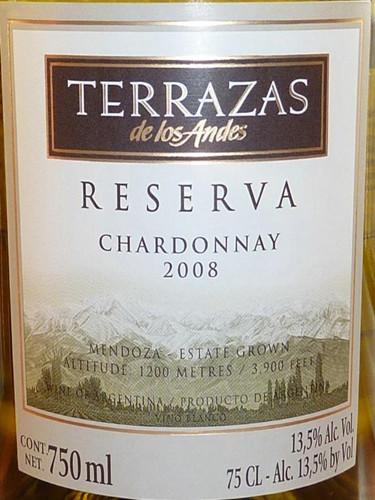安第斯台阶珍藏霞多丽干白 Terrazas de los Andes Reserva Chardonnay