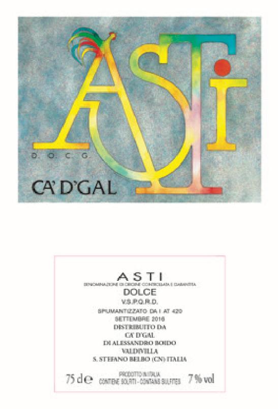 我的哥阿斯蒂甜白低醇起泡葡萄酒AZ.AGR.CA'D' GAL MOSCATO D'ASTI