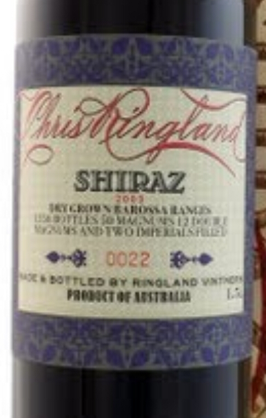 Chris Ringland Three Rivers Dry Grown Shiraz
