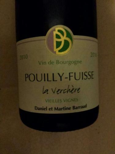 """丹玛巴若普伊富溪薇盛园干白葡萄酒Daniel & Martine BARRAUD Pouilly Fuissé """"La Verchère"""