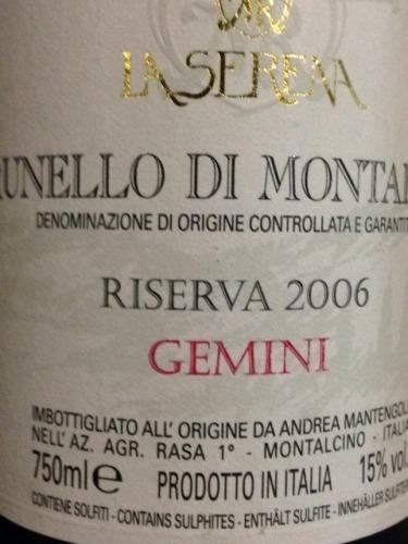 Brunello Di Montalcino Riserva Gemini