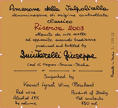 琨塔奈利阿玛隆尼经典珍藏干红Giuseppe Quintarelli Amarone della Valpolicella Classico Riserva