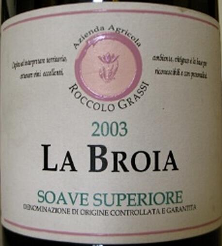 洛卡拉波罗超级索阿维干白Roccolo Grassi La Broia Soave Superiore