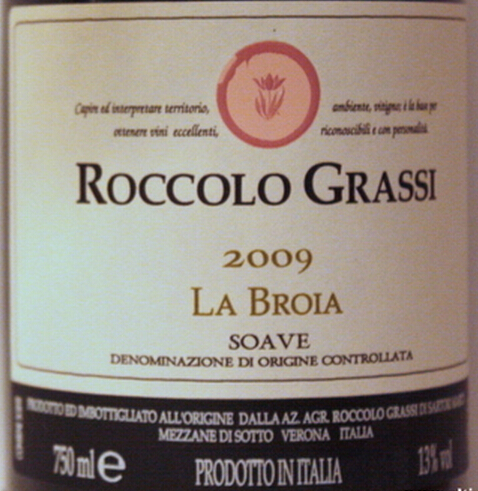 洛卡拉波罗索阿维干白Roccolo Grassi La Broia Soave